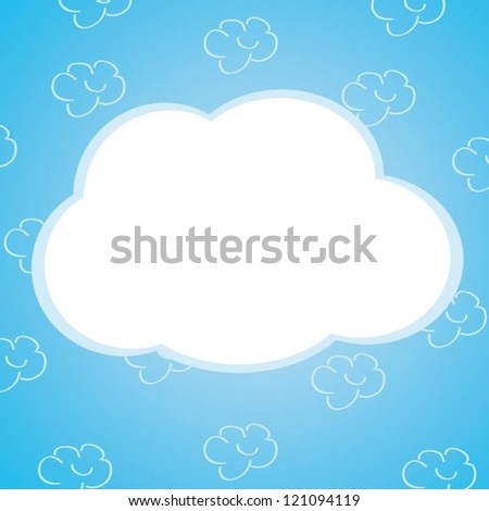 blue cartoon background with clouds (frame)