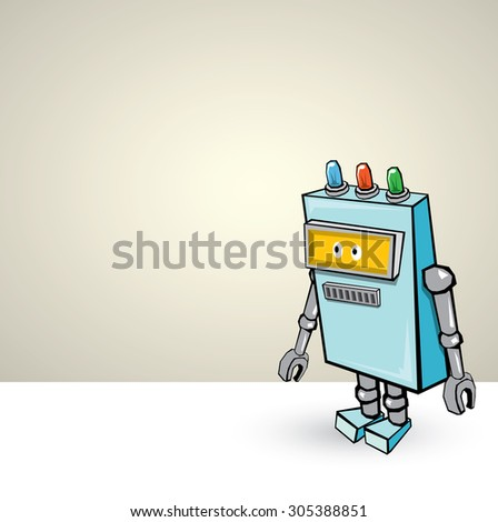 blue Cartoon 3d Robot - stock vector