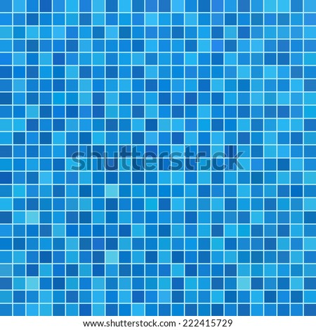 Blue ceramic tile mosaic in swimming pool - stock vector