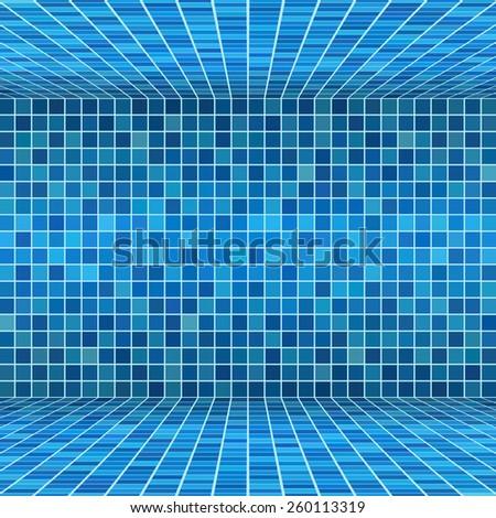 Blue ceramic tile mosaic in swimming pool - stock vector
