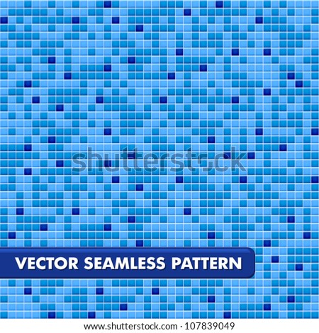 Blue ceramic tile mosaic in swimming pool - seamless texture - stock vector