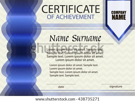 Blue certificate of achievement or diploma  template. Horizontal. Reward. Award winner. Winning the competition. Vector illustration. - stock vector