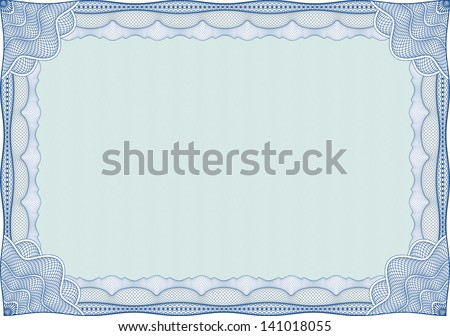 Blue certificate or diploma template - stock vector