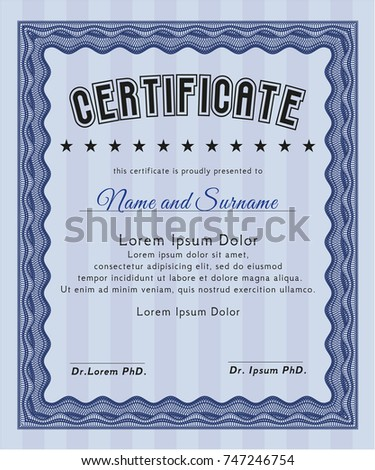 Blue certificate template customizable easy edit stock vector blue certificate template customizable easy to edit and change colors with quality background yelopaper Images