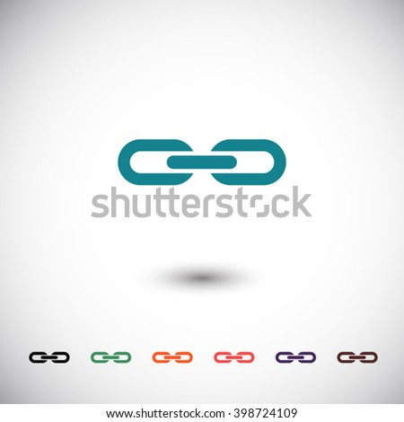 blue chain link icon, black chain link icon, green chain link icon, orange chain link icon, red chain link icon, purple chain link icon, brown chain link icon - stock vector
