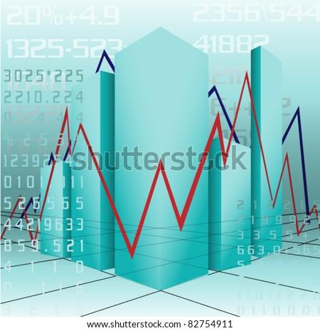 blue chart - stock vector