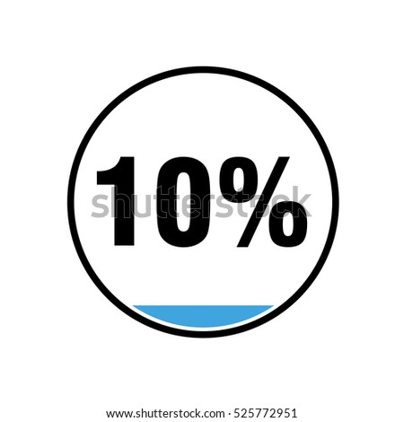 Blue Chart 10 Percent In Black Circle White Background