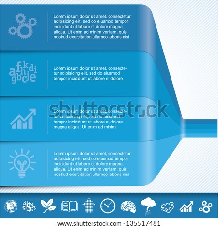 Blue chart template for infographics. Vector - stock vector