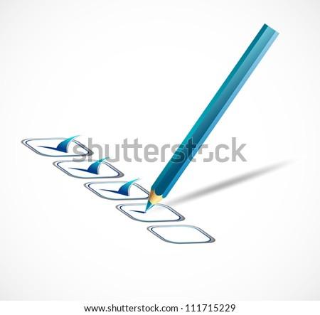 Blue check list. Vector illustration - stock vector