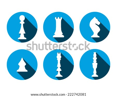 Blue chess icons with long shadow. Hand drawn chess shapes - stock vector
