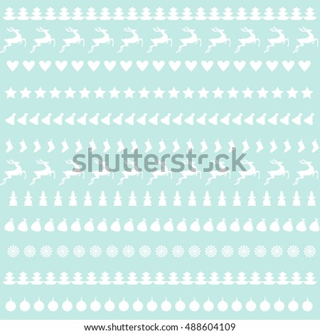 Blue Christmas Background - reindeer, snowflakes, Christmas trees, stars. Vector illustration