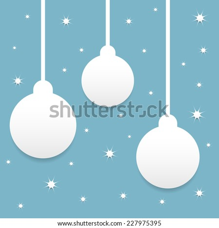 Blue Christmas background with balls and stars