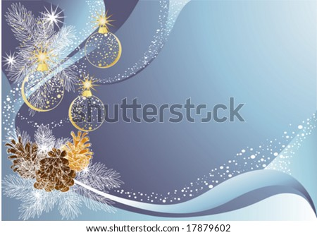 Blue christmas background with baubles and pine cones.