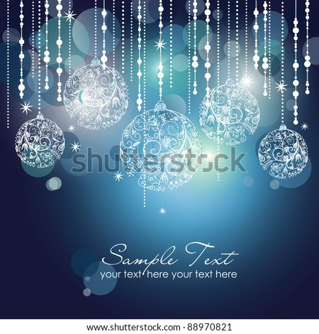 Blue Christmas Background with Christmas ornaments - stock vector