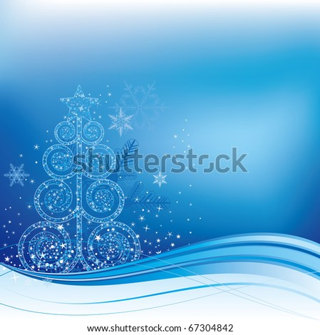 blue christmas background with christmas tree - stock vector
