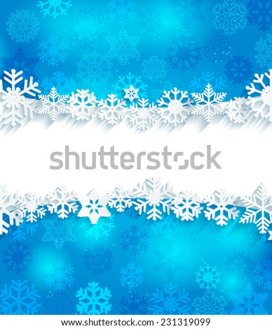 Blue Christmas background with frame and paper snowflakes, vector. - stock vector