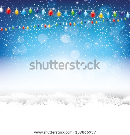 Blue Christmas background with lights and snow - stock vector