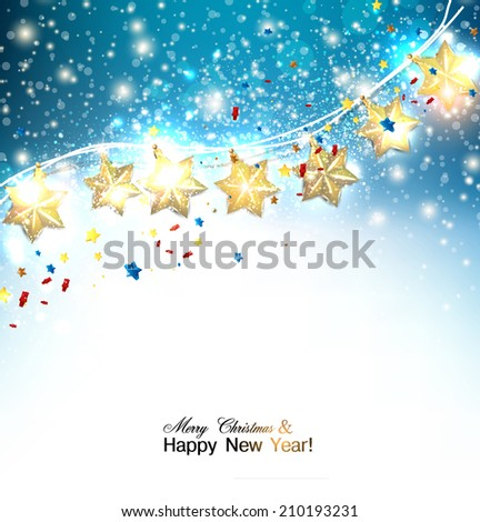 Blue Christmas  background with luminous garland. Vector illustration - stock vector