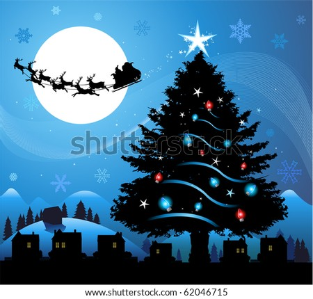 Blue Christmas background with santa claus flying in the sky - stock vector