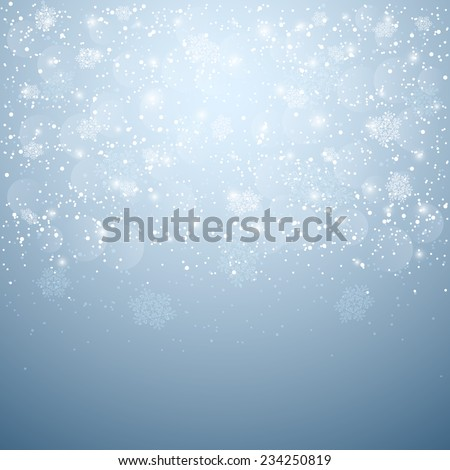 Blue Christmas background with snow and blurry lights, illustration. - stock vector