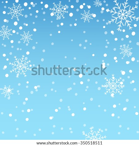 Blue christmas background with snowflakes falling. - stock vector