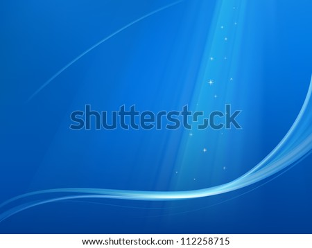 Blue christmas background with wave and snowflakes - stock vector