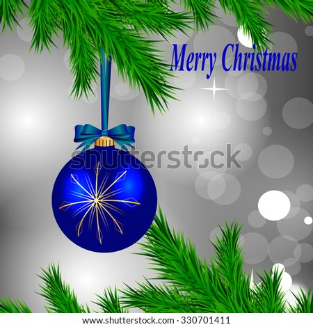 blue Christmas ball with golden snowflakes and bow hanging on a Christmas tree on a gray background of brilliant - stock vector