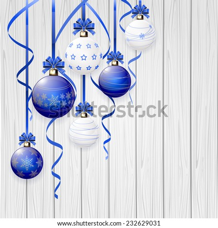 Blue Christmas balls and tinsel on wooden background, illustration. - stock vector