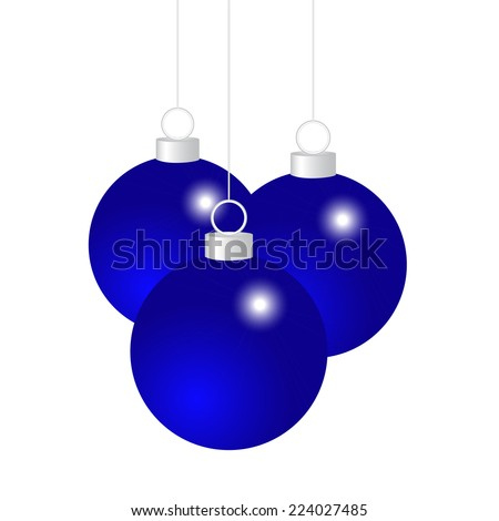 Blue Christmas balls on a white background  - stock vector