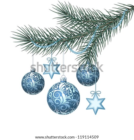 Blue christmas balls on green spruce branch. Vector illustration - stock vector