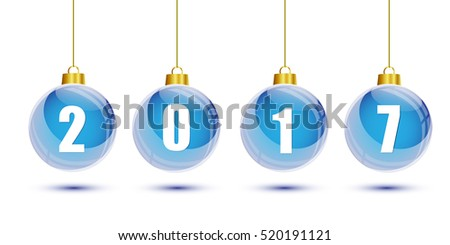 Blue christmas balls with the numbers of new year 2017 hanging on white background