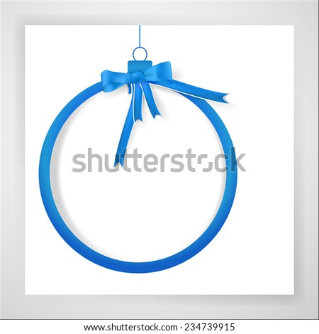 Blue christmas banner ball with bow