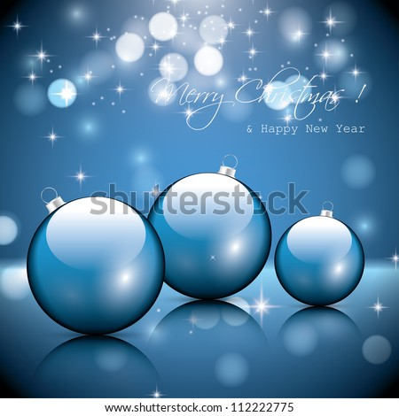 Blue christmas baubles - stock vector
