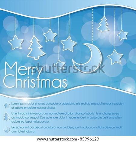 Blue Christmas card - stock vector