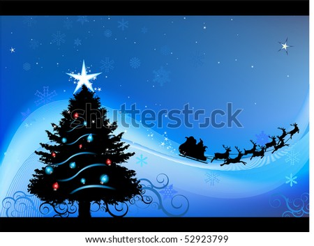 Blue Christmas card vector background