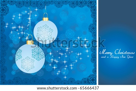 Blue Christmas card with baubles, wish of Merry Christmas and place for text, vector illustration