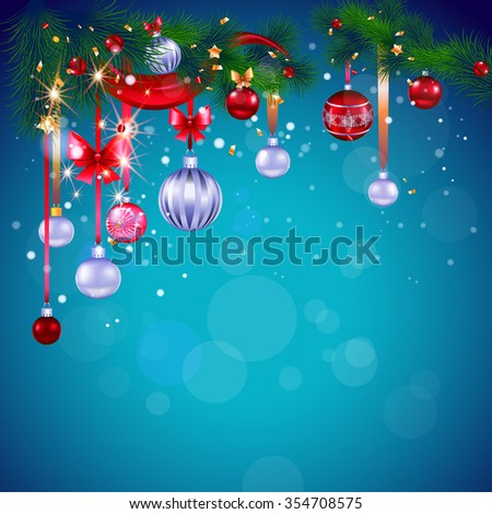 Blue Christmas card with decoration. Bright background with place for text. Holiday design for card, banner,ticket, leaflet and so on. - stock vector