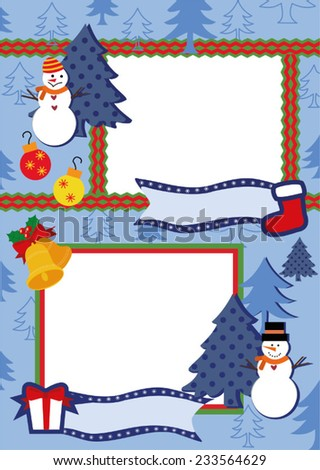 Blue Christmas frame  for two photos - stock vector