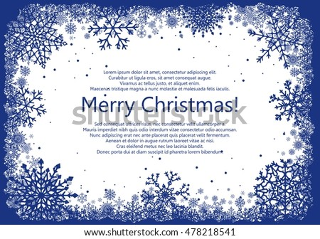 Blue Christmas frame with snowflakes isolated on white background. Vector illustration