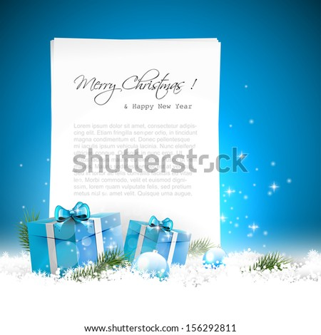 Blue Christmas greeting card with gift boxes, baubles in the snow and empty paper