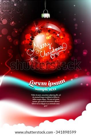 Blue Christmas Ornament. Vector Illustration. Merry Christmas - stock vector