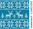 Blue Christmas ornamental embroidery vector background - stock vector