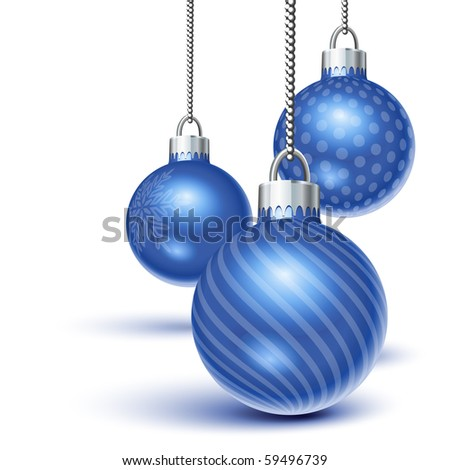 Blue christmas ornaments hanging over white - stock vector