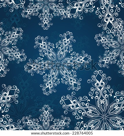 Blue Christmas seamless background with snowflakes - stock vector