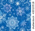 Blue christmas Seamless Pattern with snowflakes on blue background. Vector illustration (can be repeated and scaled in any size). - stock vector