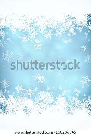 Blue Christmas snow background with snow stripes in the top and bottom. EPS10 vector. - stock vector