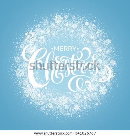 Blue Christmas Snowflake Wreath. Vector illustration EPS10 - stock vector