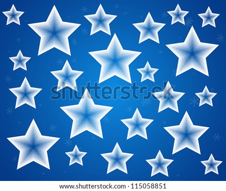 blue christmas stars background concept - stock vector
