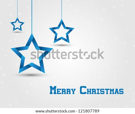 blue christmas stars. christmas card. - stock vector
