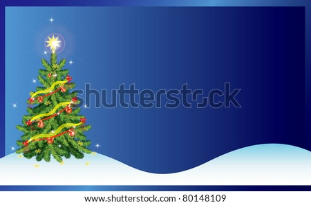 Blue Christmas-tree card with snow - stock vector
